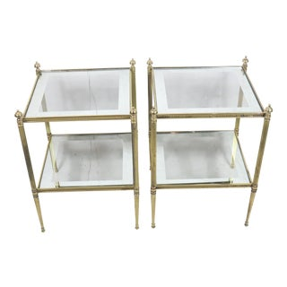 French Style Brass Framed Side Tables - a Pair For Sale
