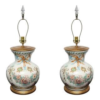 Reverse Decoupage Glass Lamps - A Pair For Sale