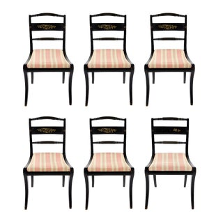 Early American Hitchcock Style Dining Chairs - Set of 6 For Sale