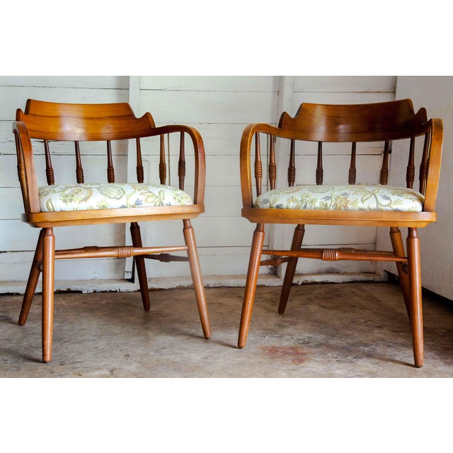 1950s Vintage Drexel Barrel Dining Office Accent Arm Chairs- Pair For Sale - Image 13 of 13