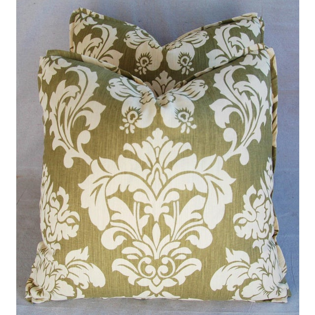 "Cotton 21"" Designer Brule Fabric Randall Damask Feather/Down Pillows - Pair For Sale - Image 7 of 11"