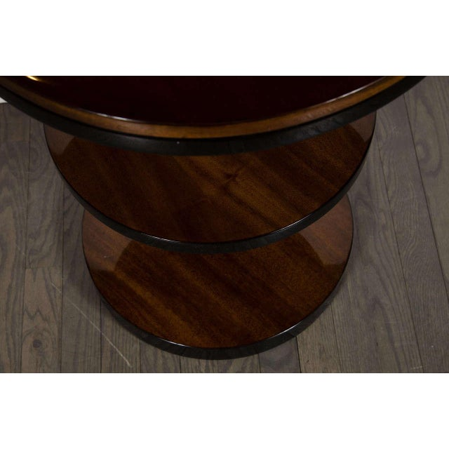 Lacquer Machine Age Pair of Art Deco Three-Tier Column-Form Occasional Tables For Sale - Image 7 of 8