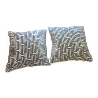 Custom Designer Blue Gray and Cream Geometric Pillows - a Pair For Sale