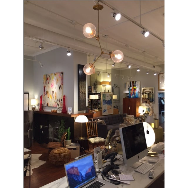 Custom Brass Three Globe Chandelier For Sale In Chicago - Image 6 of 7