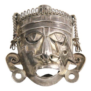 Emf Taxco Mexico Sterling Silver 3d Mayan Face Pendant Brooch For Sale