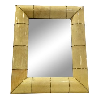 Large Mid Century Laquered Goat Skin Mirror For Sale