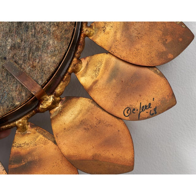 Metal C. Jere Mixed Metal 'Sunflower' Vanity Mirror, 1968 For Sale - Image 7 of 8