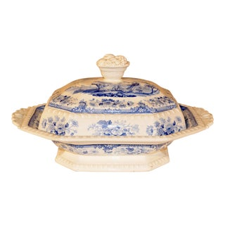 19th Century Staffordshire Covered Vegetable Dish For Sale