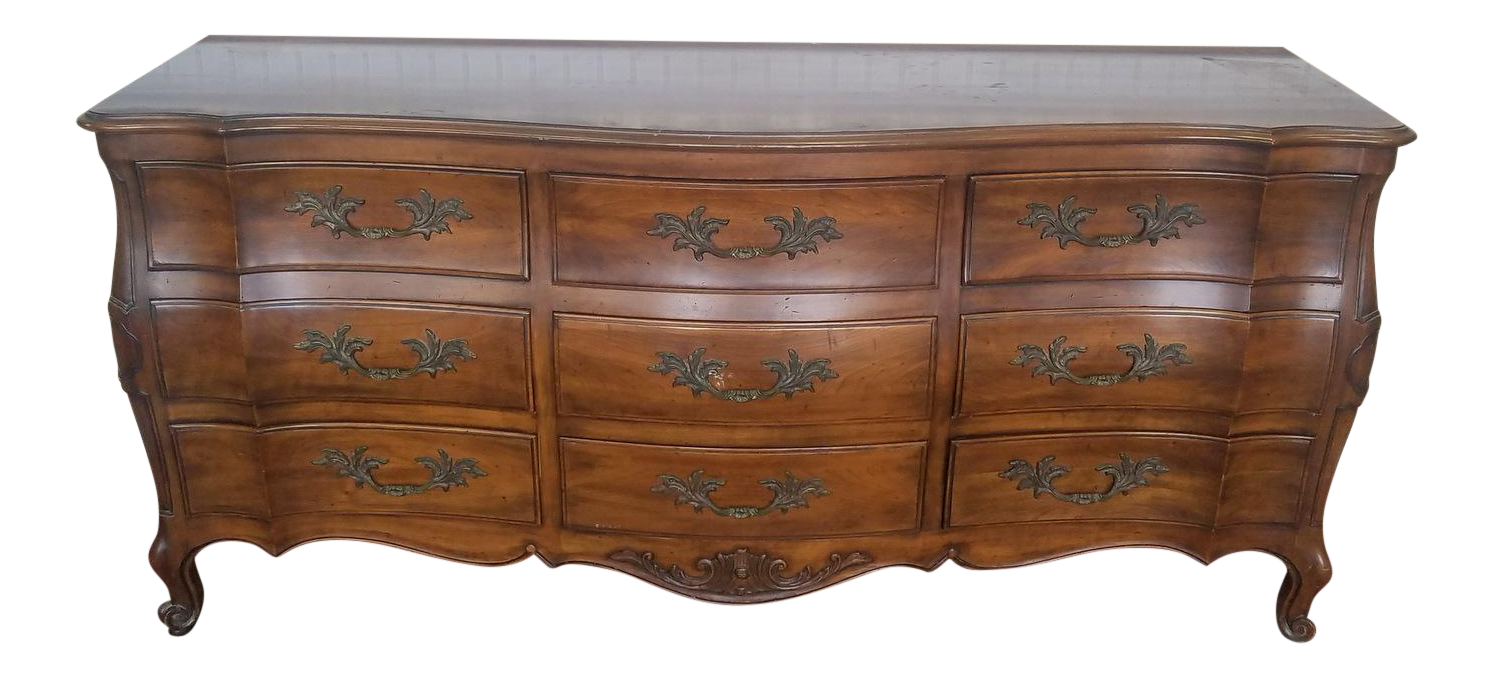 Solid Cherry 1960s French Provincial John Widdicomb 9 Drawer Bedroom Dresser
