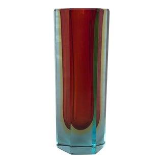 Vintage Red and Blue Modern Cased Glass Vase For Sale