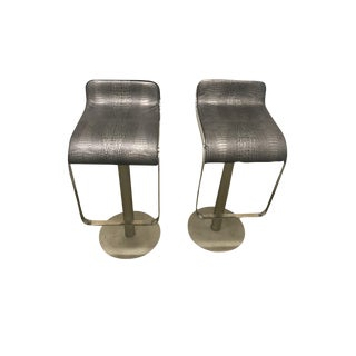 Contemporary Metallic Bar Stools - a Pair