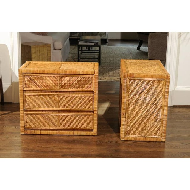 Bamboo Incredible Pair of Restored Vintage Cane and Reed Bamboo Small Chests For Sale - Image 7 of 11