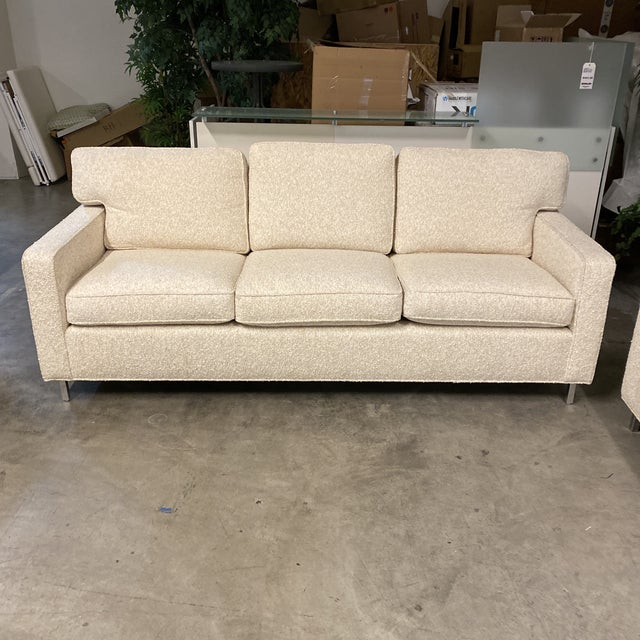 Custom Designed Nubby Cotton Three Seater Sofas - a Pair For Sale - Image 4 of 9