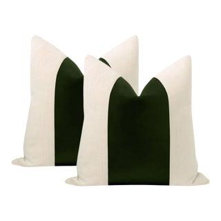 """22"""" Fern Italian Velvet Panel & Linen Pillows - a Pair For Sale"""