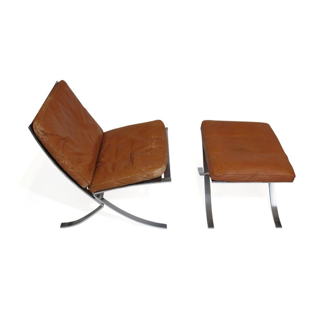 Steen Ostergaard Steel and Leather Lounge Chair & Foot Stool For Sale - Image 9 of 13