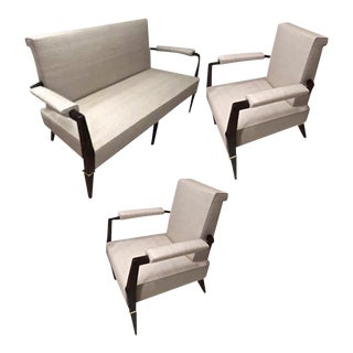 Jacques Quinet Exceptional Set of 1 Couch and 2 Armchairs Fully Restored For Sale