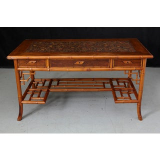 1920s French Bamboo Leather Top Desk With Drawers Preview