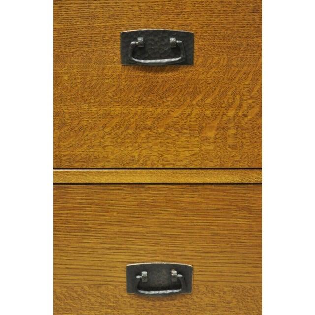 L. & J.G. Stickley, Inc. L&j G Stickley Arts & Crafts Mission Oak Wood Two Drawer Office File Cabinet For Sale - Image 4 of 13