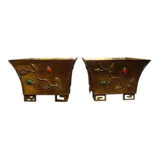 Antique Chinese Export Brass Cachepots or Planters-A Pair For Sale