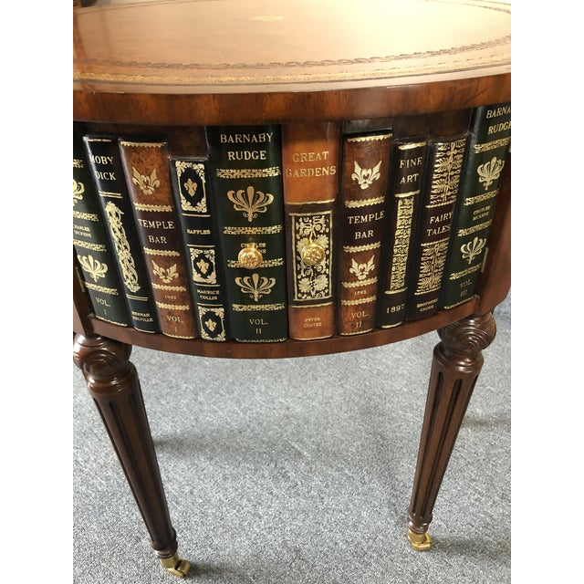 Maitland - Smith Round Leather Wrapped Side Table Cabinet With Trompe l'Oeil Books For Sale - Image 4 of 13