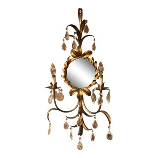 Mid 20th Century Italian Florentine Wall Sconce Mirror For Sale