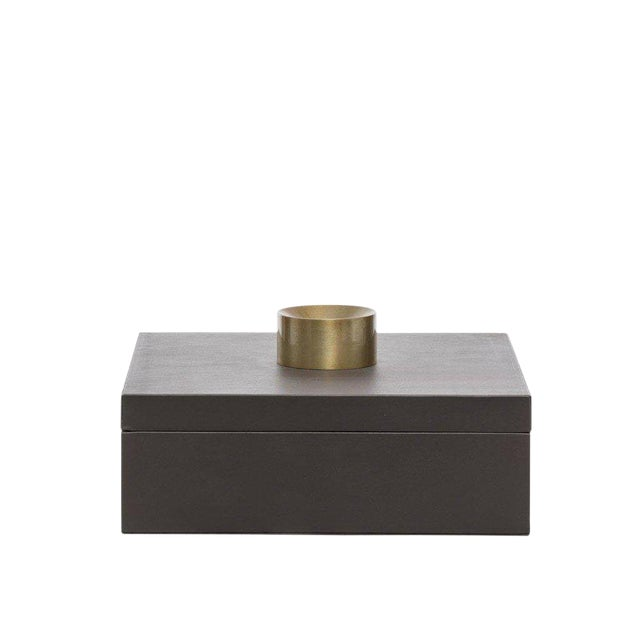Gray Leather Large Storage Accessory Box Decorative Home Decor Brass Modern Look