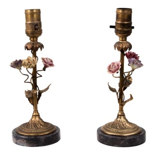 Early 20th Century Brass & Porcelain Flowers French Lamps - a Pair For Sale