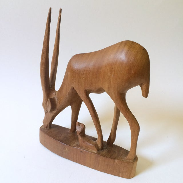 Hand Carved Wooden African Antelope Figurine - Image 3 of 5