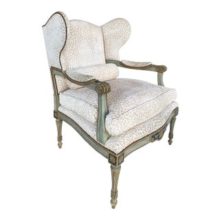 Dennis & Leen Parcel Gilt Wingback Armchair W/ Painted Frame & Down Cushion For Sale