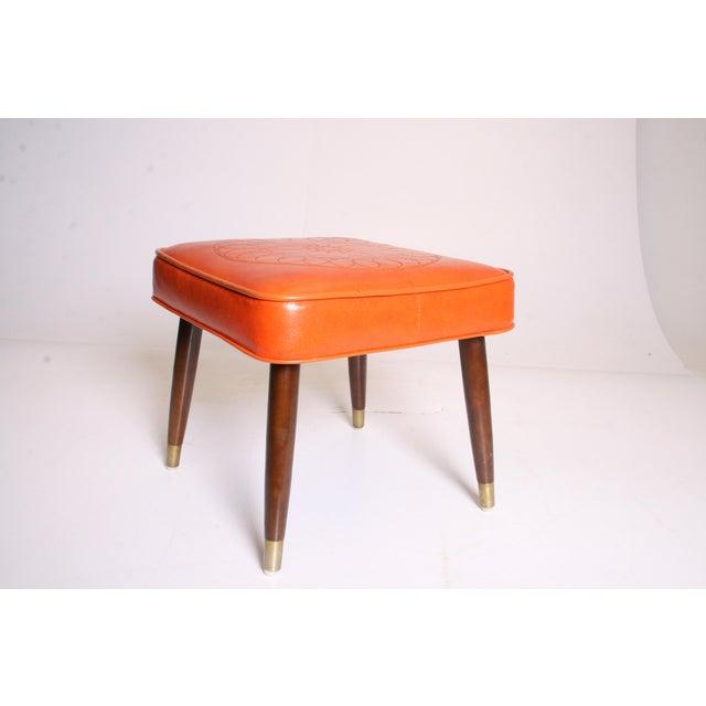 Mid Century Modern Orange Vinyl Foot Stool - Image 4 of 11