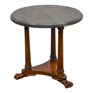 Henredon Regency Style Round Marble Top Mahogany Claw Foot Side Table