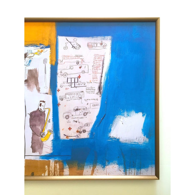 """Contemporary Jean Michel Basquiat Rare Vintage 1997 Framed Lithograph Fine Art Print """" Worthy Constituents """" 1986 For Sale - Image 3 of 13"""