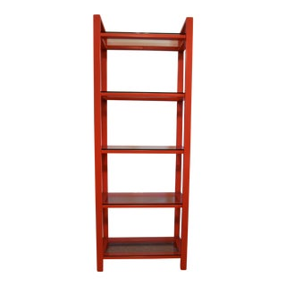 Red Metal Bookshelf With Glass Shelves For Sale