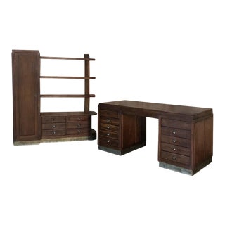 Art Deco Period Modern Partner's Desk and Bookcase Set in Mahogany For Sale