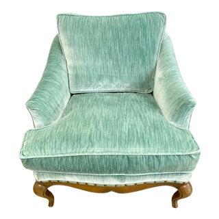 Mid Century Green Velvet Studded Down Filled Armchair For Sale
