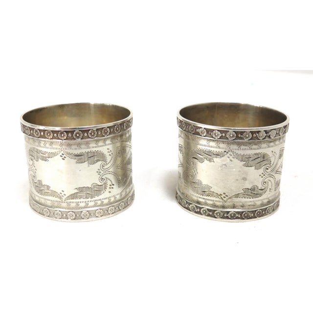 1870s Antique Sterling Silver Napkin Rings - a Pair For Sale - Image 9 of 13