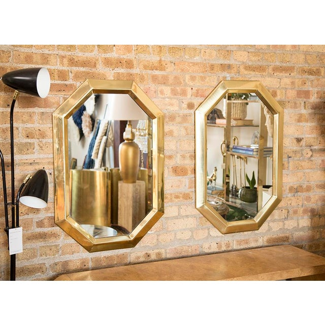 Brass Octagonal Mirrors - A Pair - Image 2 of 11