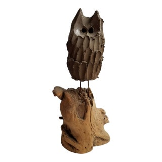 1960s Mid Century Modern Studio Pottery Owl Mounted on Driftwood For Sale