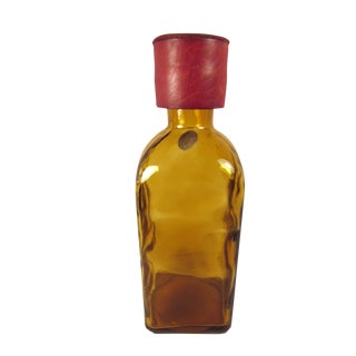 Glass Brandy Decanter in Deep Amber With Leather Covered Cork Stopper