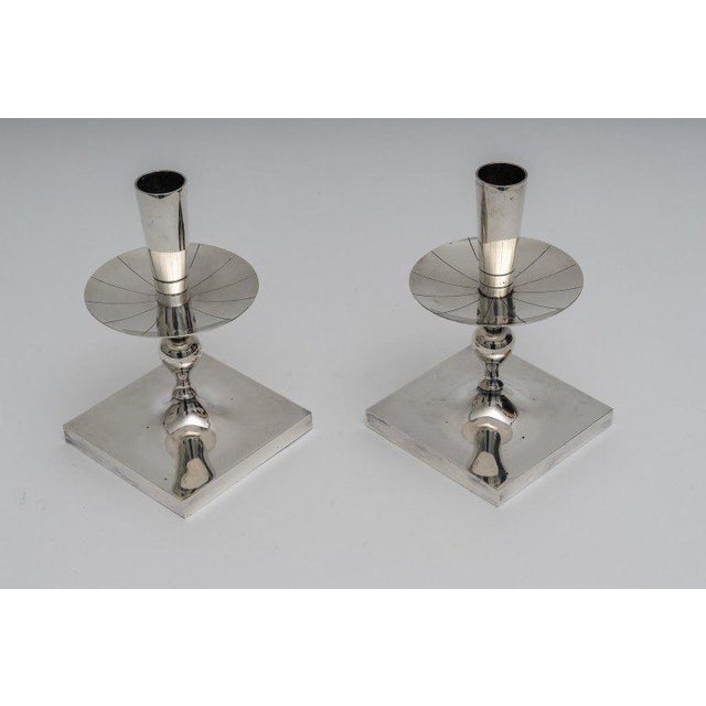 Silver Silver Plated Candlesticks by Tommy Parzinger - a Pair For Sale - Image 8 of 13