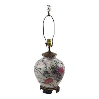 Porcelain Ginger Jar Table Lamp Ethan Allen Floral Wooden Base Brass For Sale