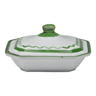 Antique Hand-Painted Green & White Swedish Enameled Cast Iron Covered Dish For Sale