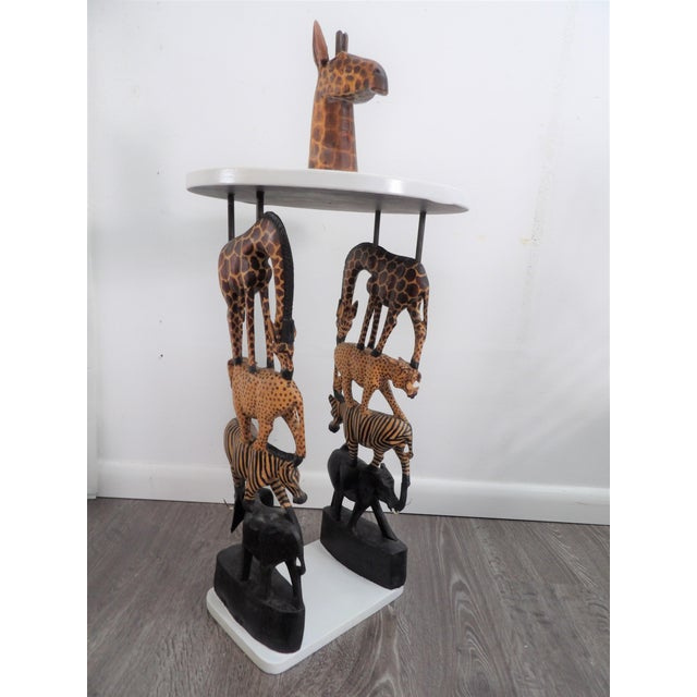 African Safari Style Stacked Carved Animal Accent Side Table For Sale - Image 4 of 5