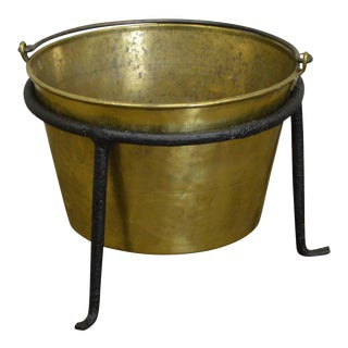 Antique Hammered Brass Kindling Bucket W/ Iron Stand For Sale