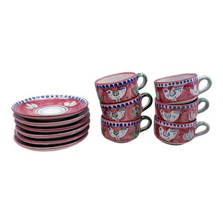 Vietri Solimene Campagna Coffee Cups & Saucers - Set of 6 For Sale