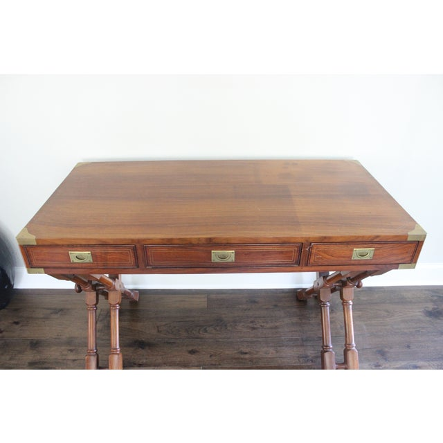 Campaign Style Rosewood & Brass Inlay Desk For Sale - Image 6 of 8