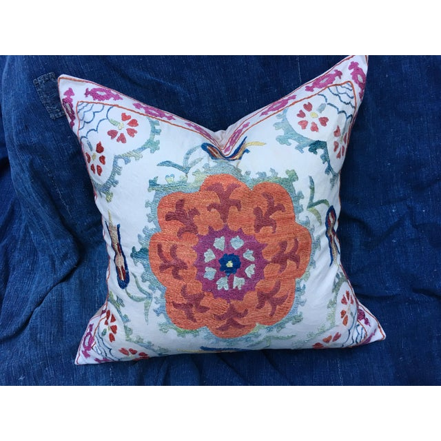 Embroidered Suzani Pillow Cover For Sale In Los Angeles - Image 6 of 6