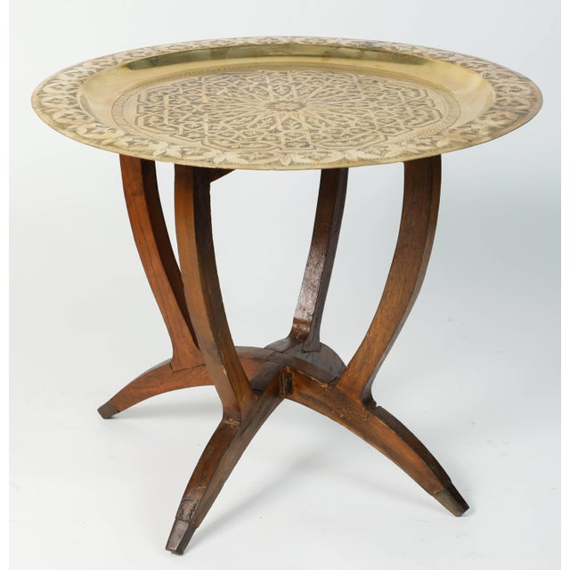 Gold Polished Moroccan Brass Tray Side Table on Spider-Leg For Sale - Image 8 of 8