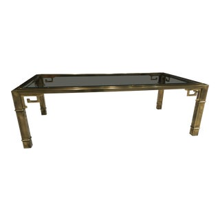Brass and Glass Mid-Century Modern Greek Key Coffee Table by Mastercraft For Sale