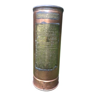 Antique Brass/Copper Fire Extinguisher Umbrella Stand For Sale